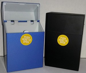 Push to Open Metallic Finish Plastic Cigarette Case