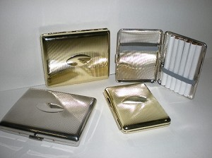 Metal Book Style Cigarette Case Half Pack